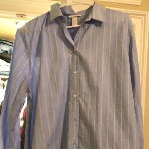 Blue and white lightly striped blouse